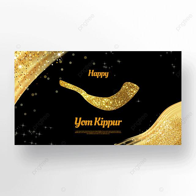 golden ornate horn light effect flashing jewish yom kippur template