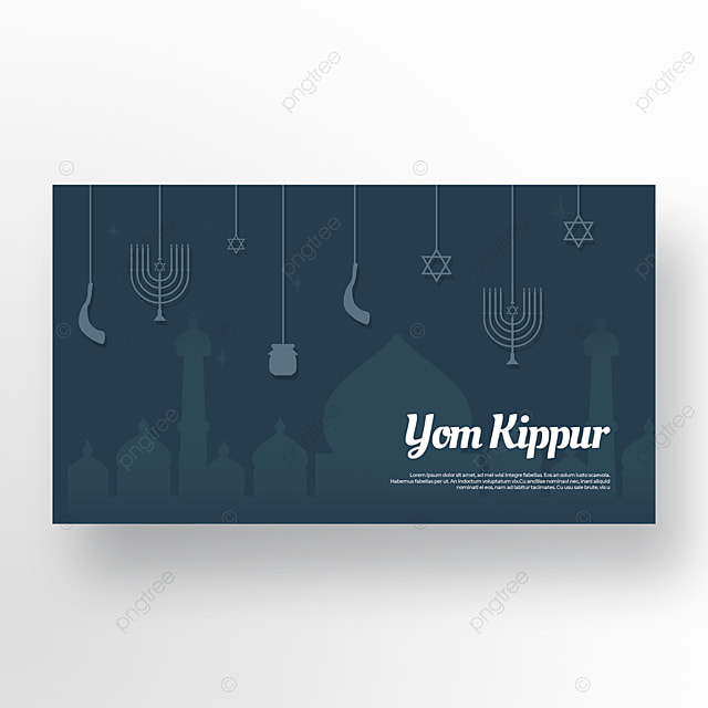 tranquil night dark blue candlestick star light effect flashing judaism yom kippur template