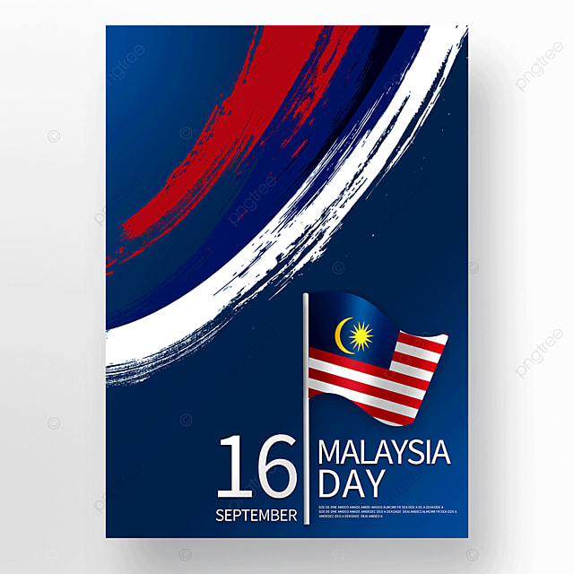 blue brush malaysia day poster