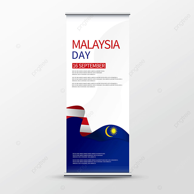 blue simple malaysia day roll up banner