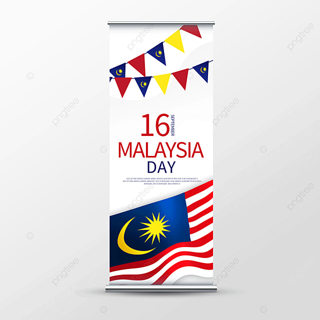 colorful vector malaysia day roll up banner