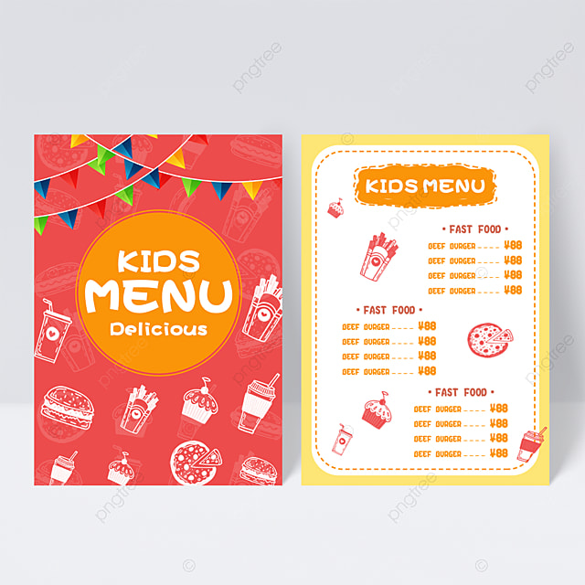 Cute Red Background Kids Menu Design Template For Free Download On Pngtree