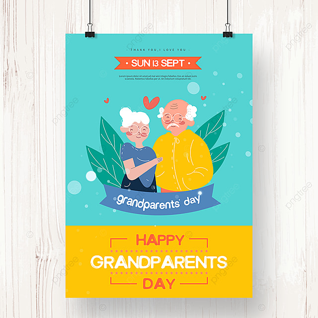 blue hand drawn grandparents day holiday poster