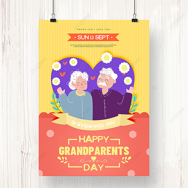 bright colorful hand drawn grandparents day poster