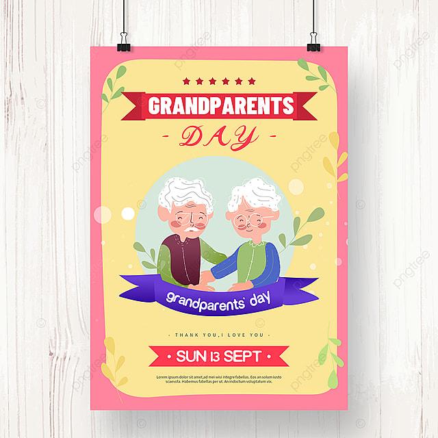 cartoon hand drawn grandparents day holiday poster