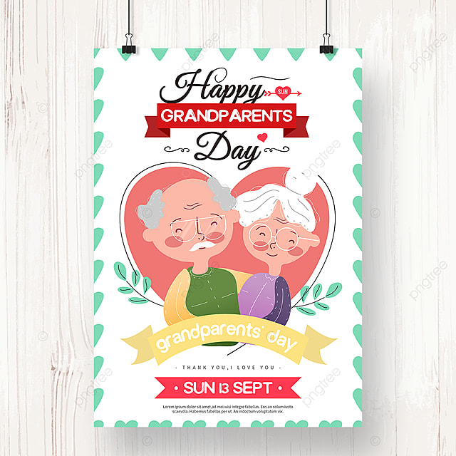 colorful hand drawn grandparents day holiday poster