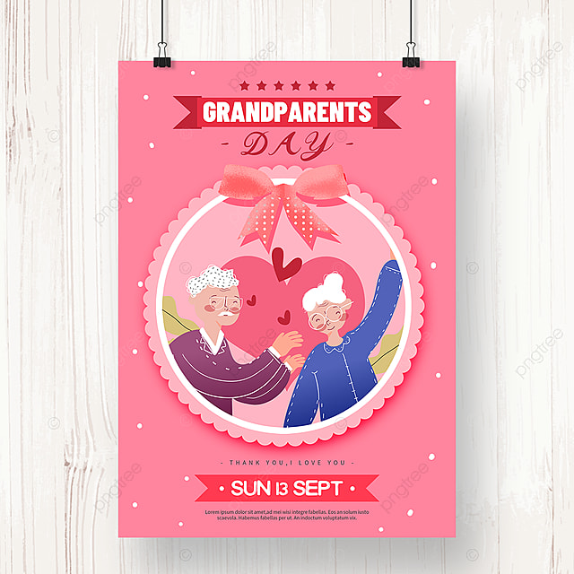 cute pink hand drawn grandparents day poster