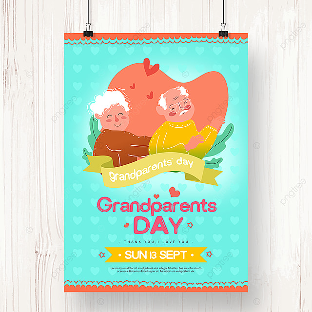 green hand drawn loving grandparents day poster