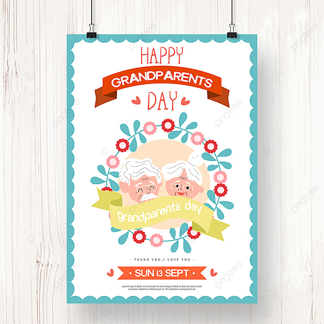 hand drawn fresh wreath grandparents day holiday poster