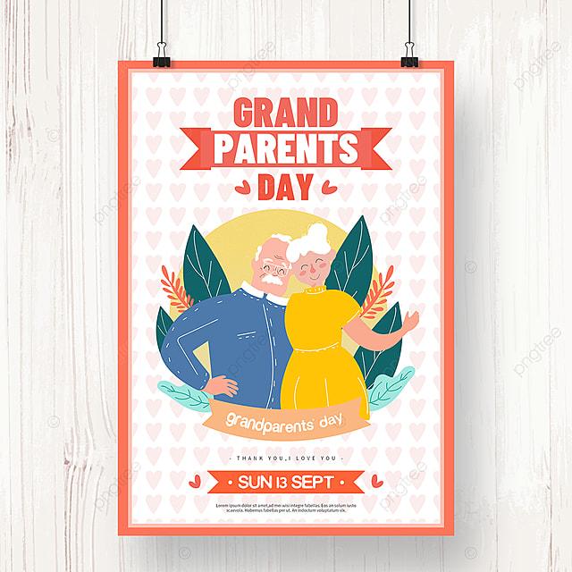 hand drawn orange grandparents day holiday poster