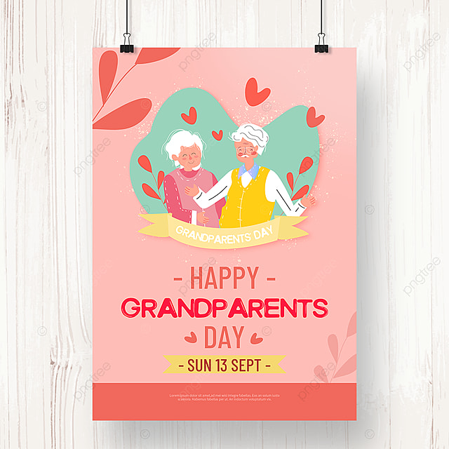pink warm hand drawn grandparents day poster