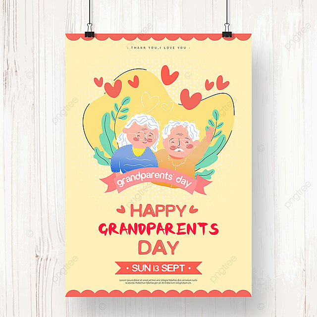 warm hand drawn grandparents day holiday poster