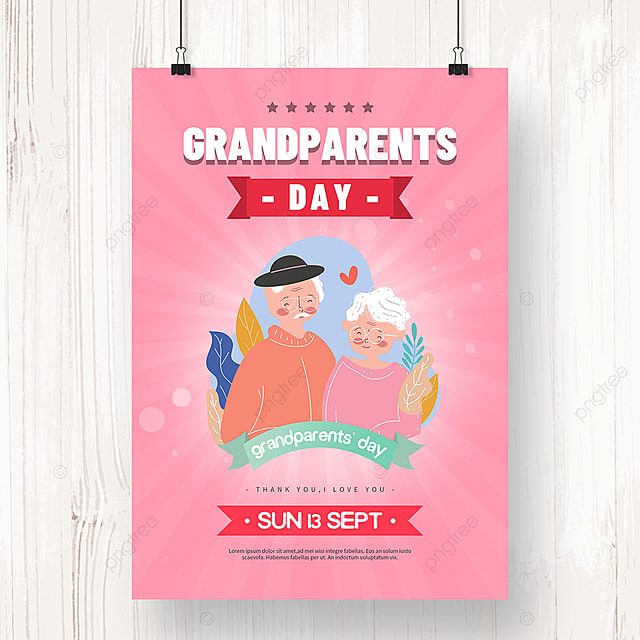 warm pink hand drawn grandparents day holiday poster