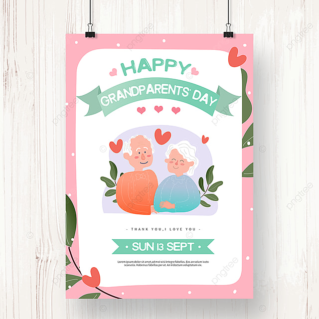 warm pink hand drawn grandparents day poster