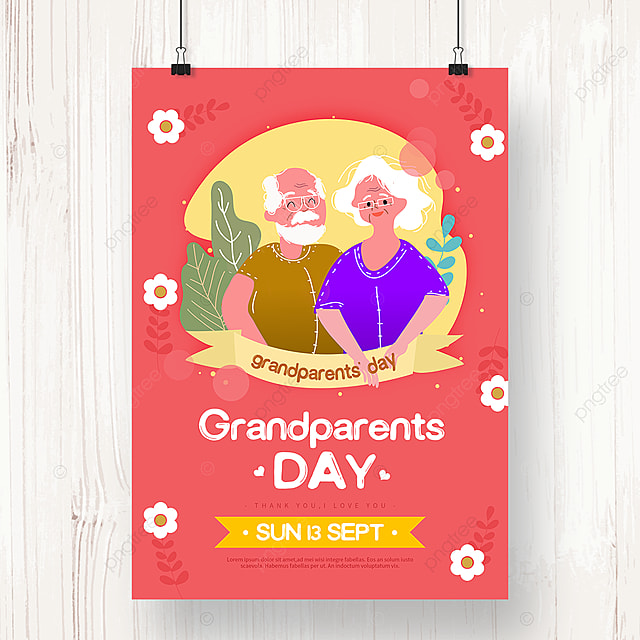 warm red hand painted flowers grandparents day holiday poster