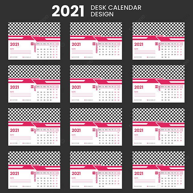 Desain Kalender Meja Modern 2021 Templat untuk Unduh ...