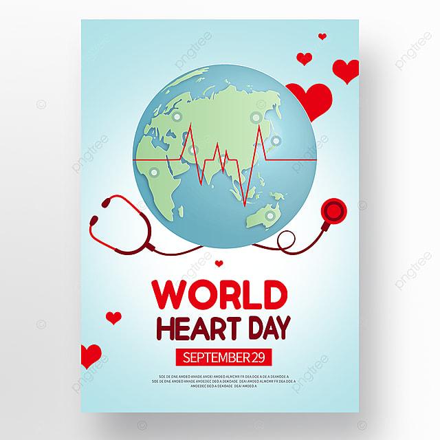 blue vector world heart day poster