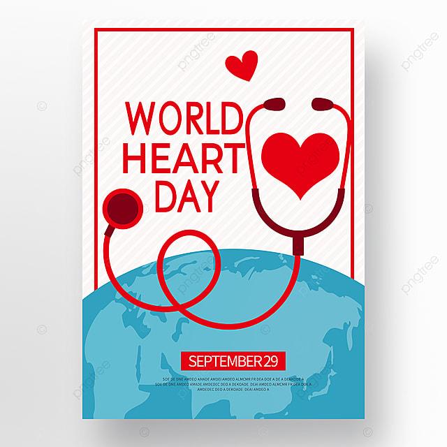 cartoon world heart day poster
