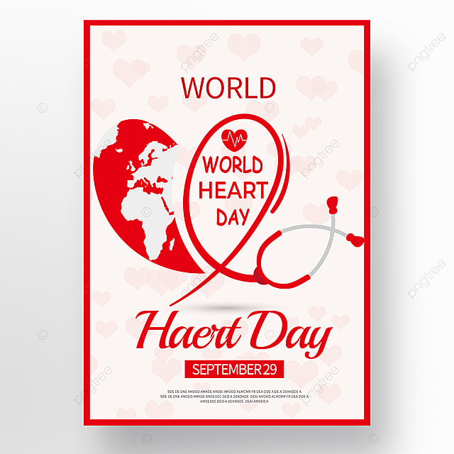 red creative world heart day poster
