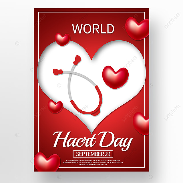 red love world heart day poster