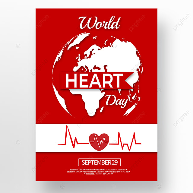 red paper cut style world heart day poster