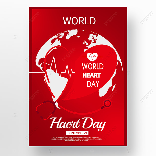 red texture world heart day poster