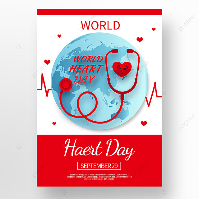 red vector world heart day poster