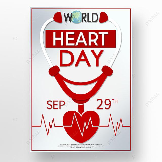white minimalist world heart day poster