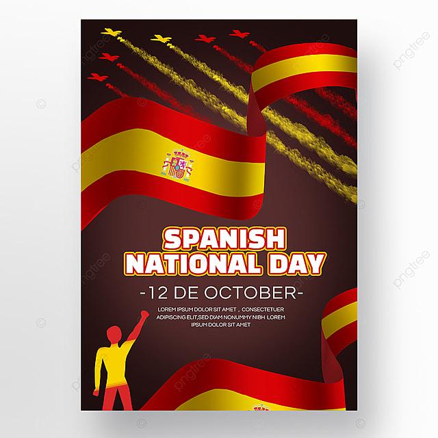 dark spanish national day social promotion poster