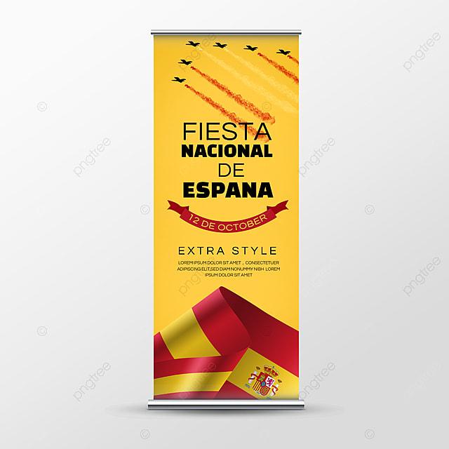 flag fiesta nacional de españa flag social media roll up banner