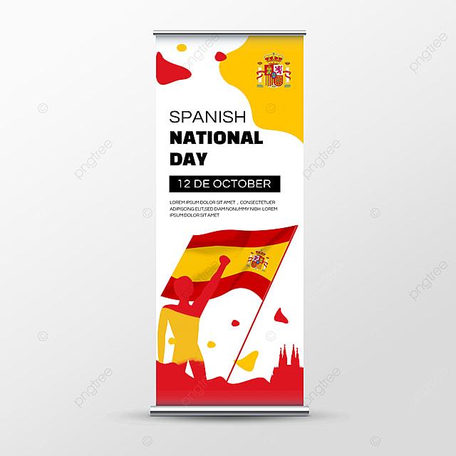 spanish national day banner social media roll up banner