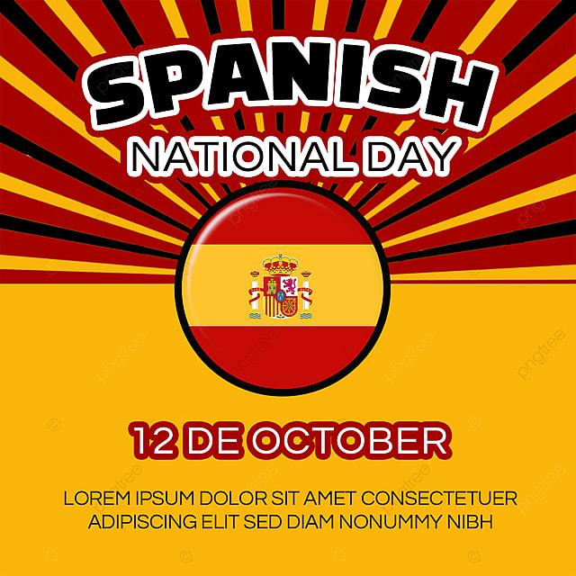 spanish national day banner social media template