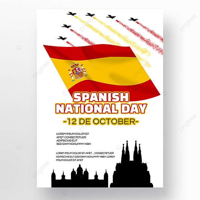 spanish national day social promotion poster