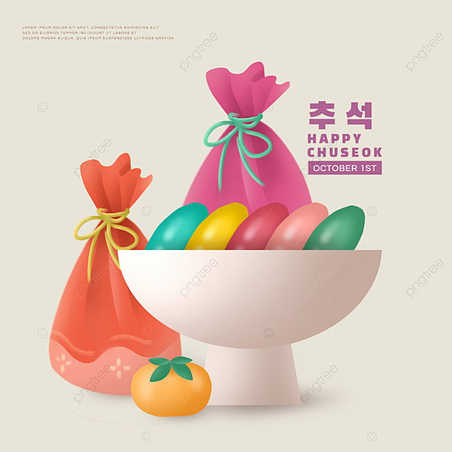 korean mid autumn festival colorful persimmon social media gift bag sns