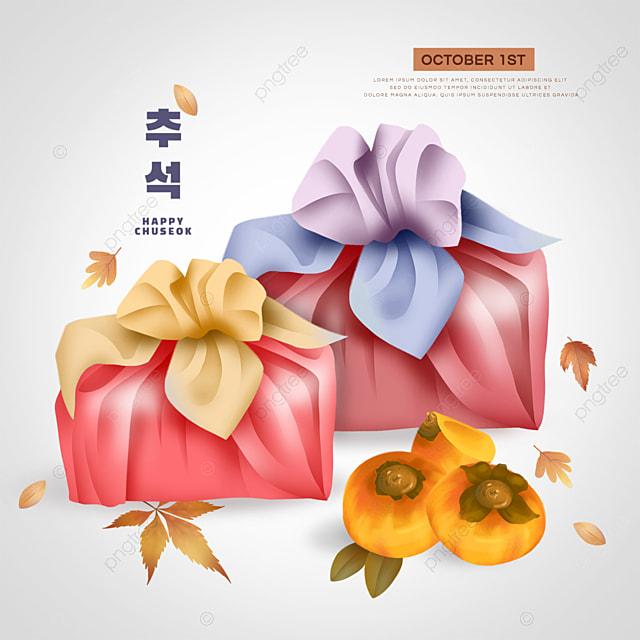 korean mid autumn festival yellow persimmon social media red gift bag sns