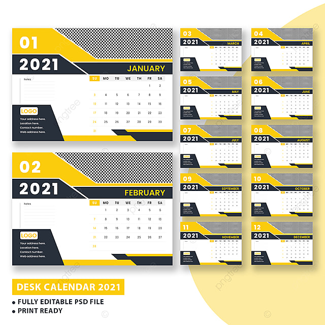 2021 Templat Desain Kalender Meja Templat untuk Unduh ...