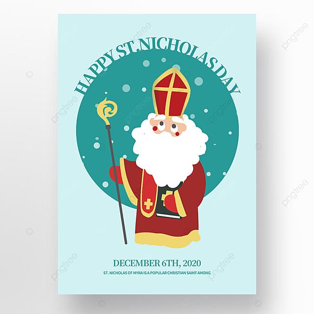 cartoon illustration saint nicholas festival poster