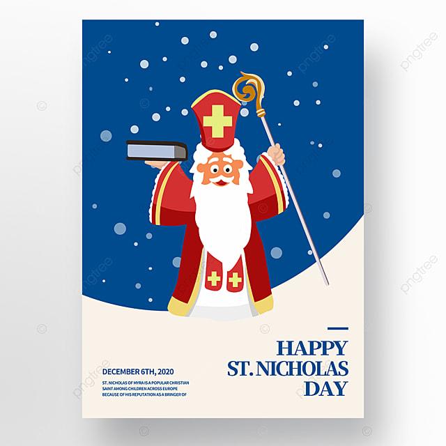 hand drawn blue cartoon saint nicolas festival poster