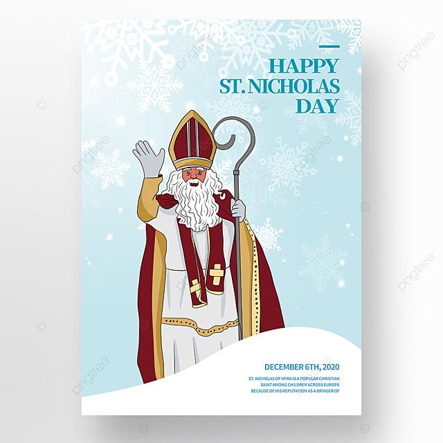 hand drawn cartoon character saint nicolas festival poster