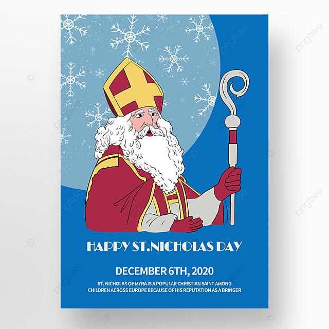 hand drawn cartoon saint nicholas festival poster