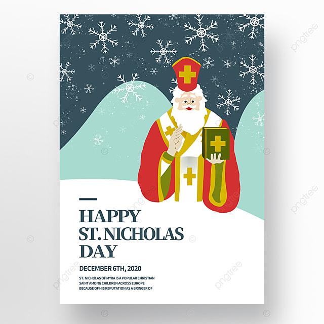 hand drawn illustration character saint nicholas festival poster
