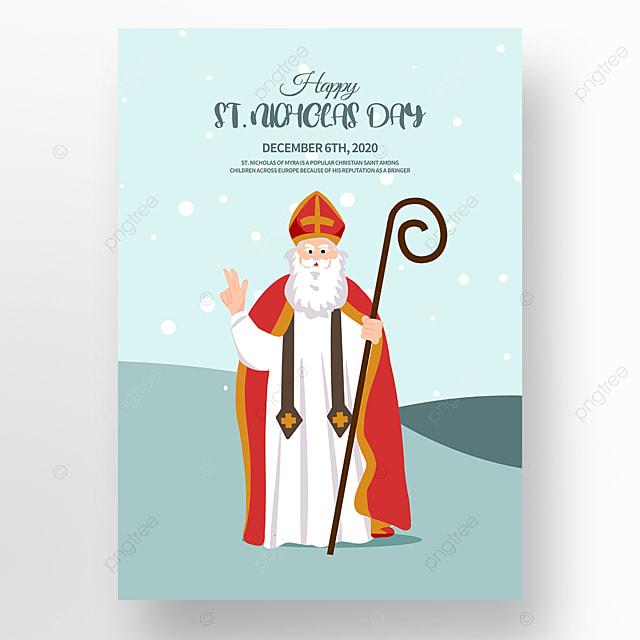 simple and modern saint nicholas festival poster