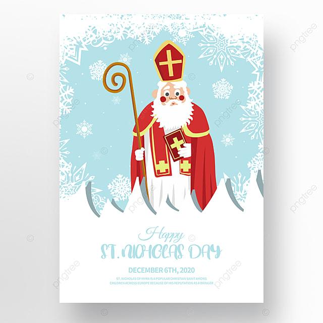 simple modern hand drawn illustration saint nicholas festival poster