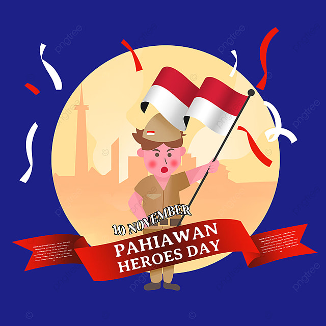 cute cartoon soldier indonesian heroes day social media