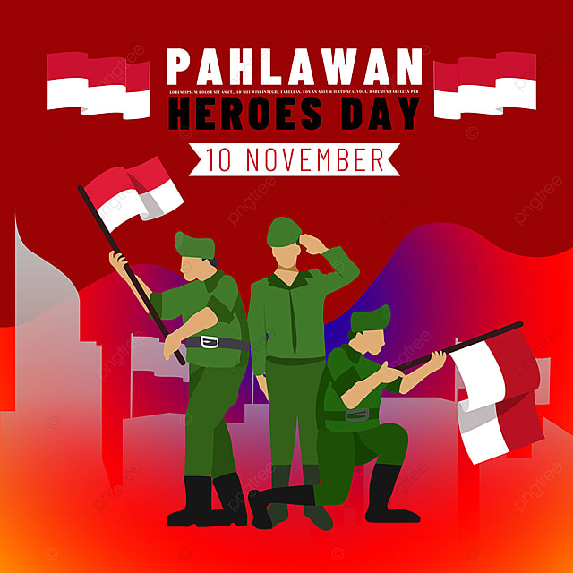 hand drawn illustration characters indonesia heroes day social media
