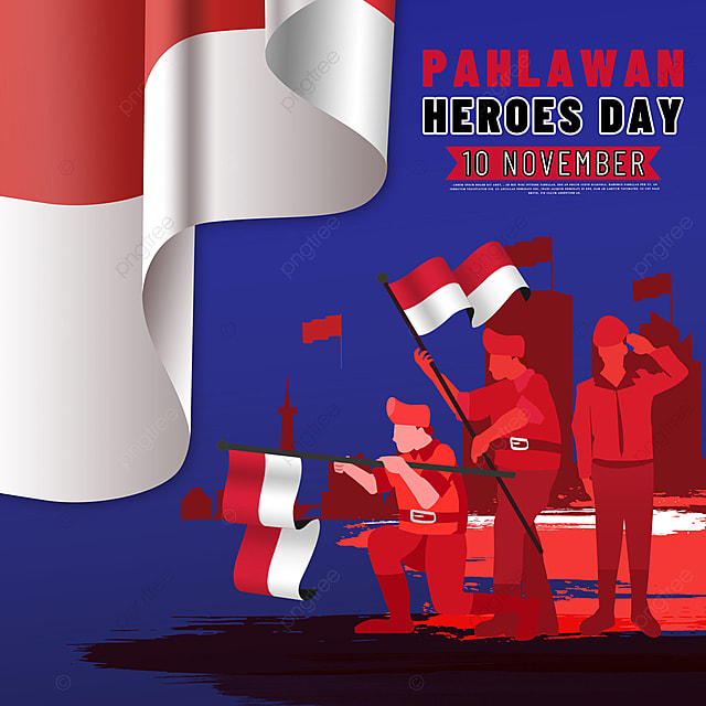 hand drawn illustration soldier image indonesian heroes day social media