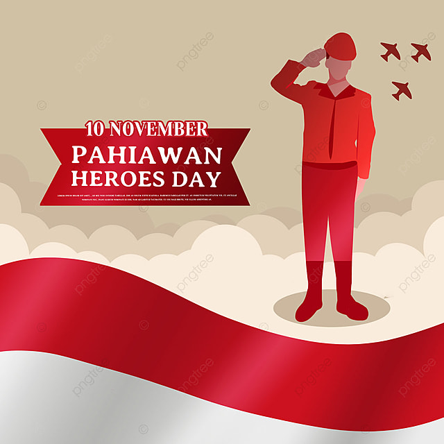 hand drawn illustration soldier saluting indonesian heroes day social media