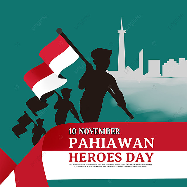 hand drawn silhouette indonesian heroes day social media