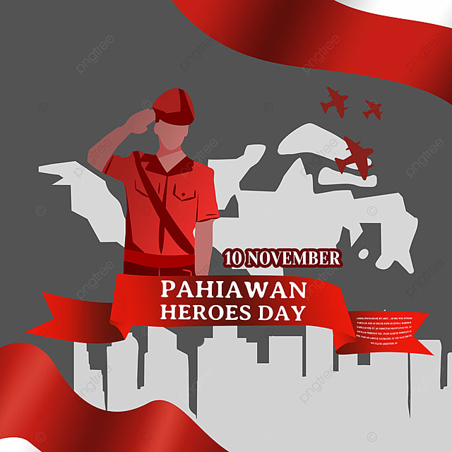 hand drawn soldier salutes indonesian heroes day social media