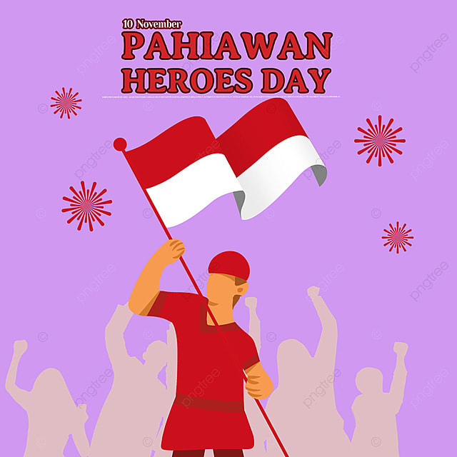 simple illustration character indonesian heroes day social media